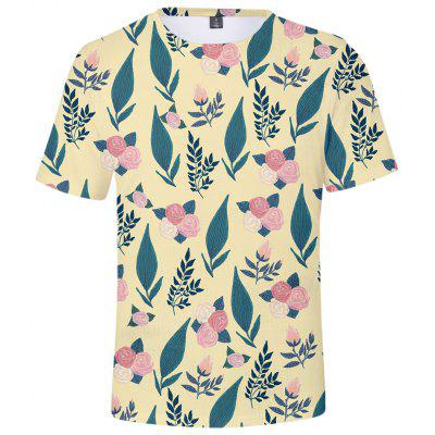 Q5262 Summer 3D Leaf Creative Design Short-sleeved T-shirt
