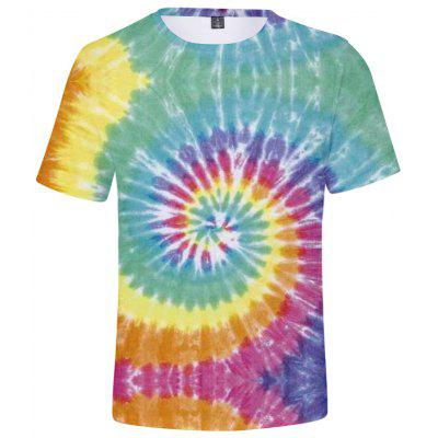 Q1532 3D Summer Men Tie Dye Casual Short Sleeve T-shirt