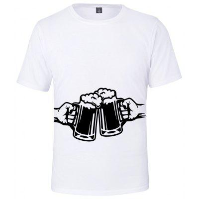 Q4988 Summer 3D Beer Creative Design Short-sleeved T-shirt