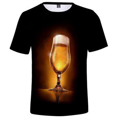 Q4990 Summer 3D Beer Creative Design Short-sleeved T-shirt