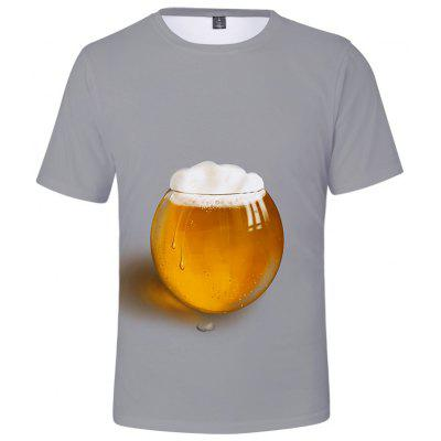 Q4987 Summer 3D Beer Creative Design Short-sleeved T-shirt