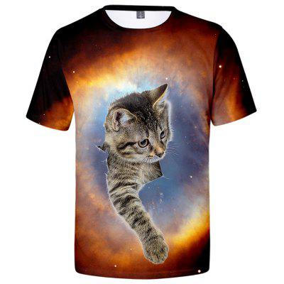 V01172 3D Summer Men Cat Design Casual Short Sleeve T-shirt