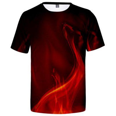 V01227 3D Summer Men Flame Design Casual Short Sleeve T-shirt