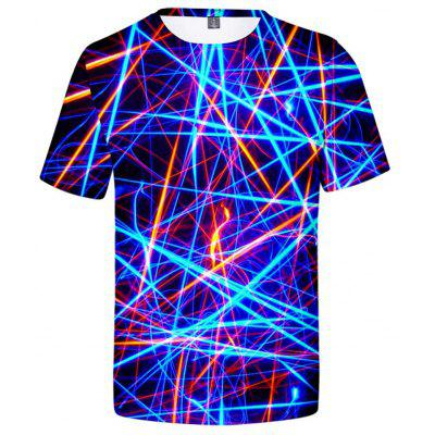 V00617 3D Summer Colored light lines Design Casual Short Sleeve T-shirt Male Fashion Top