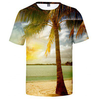V00430 3D Summer Landscape Tree and Beach Design Casual Short Sleeve T-shirt Harajuku Top