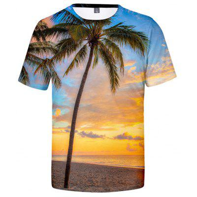 V00432 3D Summer Casual Landscape Tree Short Sleeve T-shirt