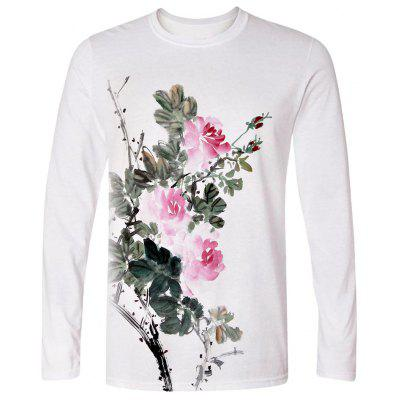 3D Print Ink Flower Long Sleeve T Shirt White Top Outerwear High quality Shirts