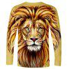 WAWNI Brand Fashion 3D Lion Long Sleeve T Shirt Autumn High Street Men Animal Long Tee