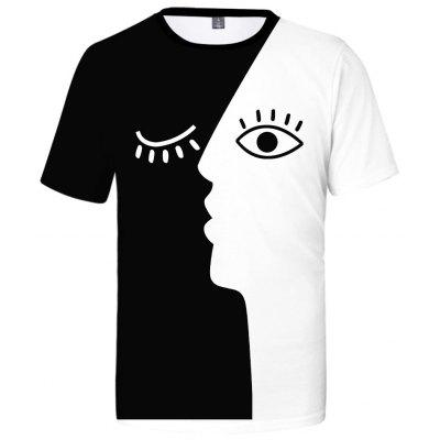 2019 Fashion Black White T shirt Funny Face Streetwear Top
