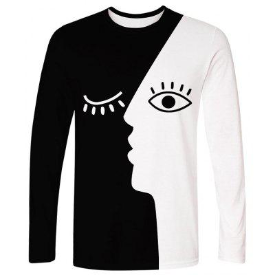 WAWNI 2019 New Arrival Long Sleeve T Shirt Black White Patchwork Tee
