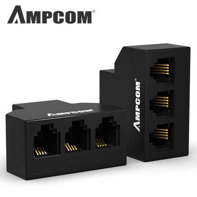 AMPCOM Telephone Adapter  RJ11 Classic 6 Pins Female Telephone Phone Cable Line Splitter Converter