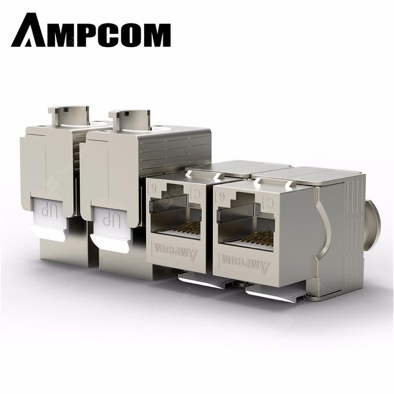 AMPCOM RJ45 Keystone Cat7 Cat6e Shielded FTP Zinc Alloy Module Network Jack Connector Adapter - CAT7