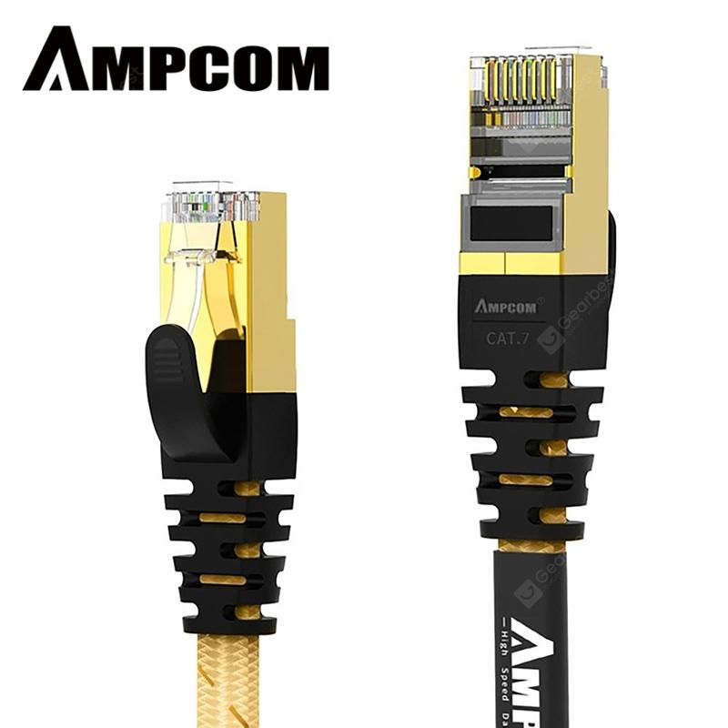 AMPCOM Cat7 Flat Ethernet Cable STP RJ45 Network Patch Cable 10Gbps 50u Gold Plate