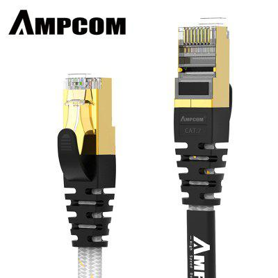 AMPCOM CAT7 Flat Ethernet Cable STP RJ45 Network Patch Cable 10Gbps 50u Gold Plate  Lan Cable