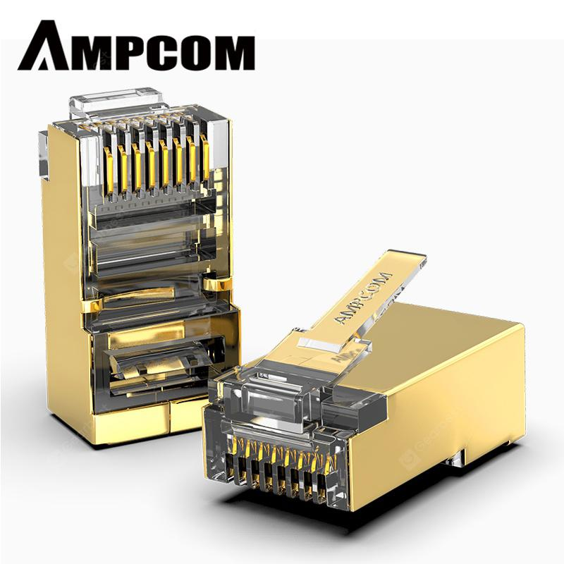 AMPCOM CAT6 Shielded 50U RJ45 Modular Plug Connector 8P8C Crimp End Ethernet Cable- - Gold 10pcs