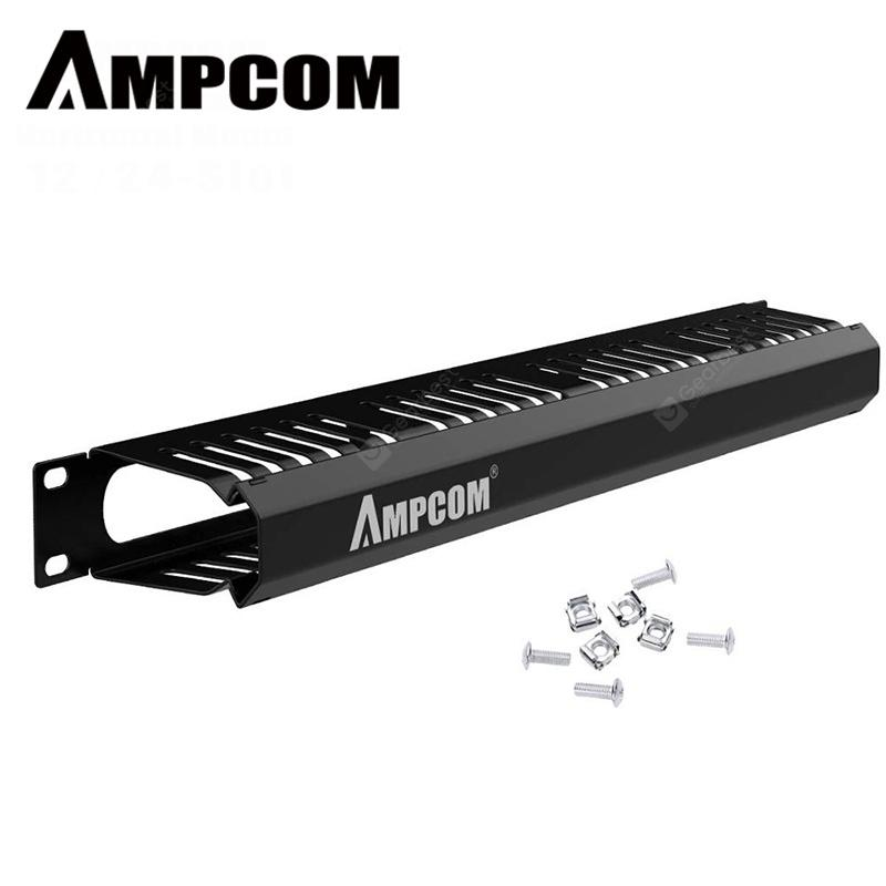 AMPCOM 1U 2U Horizontal Cable Manager with Cover 19 inch 12 and 24 Slot Organize cabling hypervisor