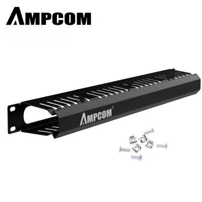 AMPCOM 1U Horizontal Cable Manager with Cover 19 inch 12 and 24 Slot Organize  cabling hypervisor