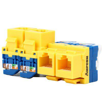 AMPCOM CAT6 Tool-Less Keystone Jack Self Locking No Punch Down RJ45 Module Adapter for Wall Plate