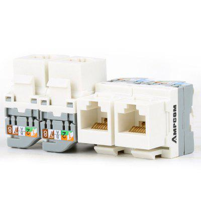 AMPCOM CAT5 Tool-Less Keystone Jack Self Locking No Punch Down RJ45 Module Adapter for Wall Plate