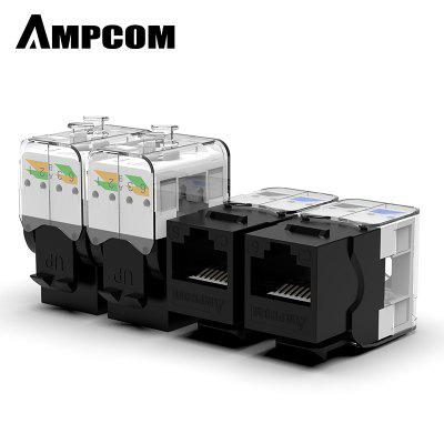 AMPCOM Pro CAT5e Tool-Less Keystone Jack Self Locking No Punch Down RJ45 Module Adapter