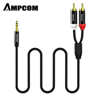 AMPCOM 3.5mm Male to 2 Male RCA Audio Cable Gold Plated for Home Stereo Speaker Smartphone