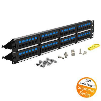 AMPCOM Supreme Series CAT5e Patch Panel 50U Gold Plated 2U 48 Port Rackmount Cable Management
