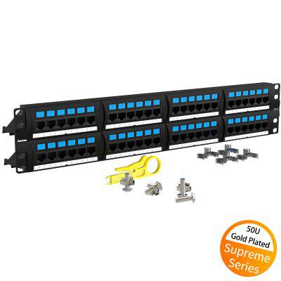AMPCOM Supreme Series CAT6 Patch Panel 50U Gold Plated 48Port 2U Rackmount Cable Management