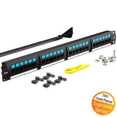 AMPCOM Supreme Series CAT5e Patch Panel 50U Gold Plated 1U 24 Port Rackmount Cable Management