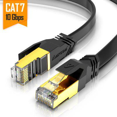 AMPCOM CAT7 Flat Ethernet Cable Shielded RJ45 Network Patch Cable 10Gbps 600MHz Gold Plate Lan Cable