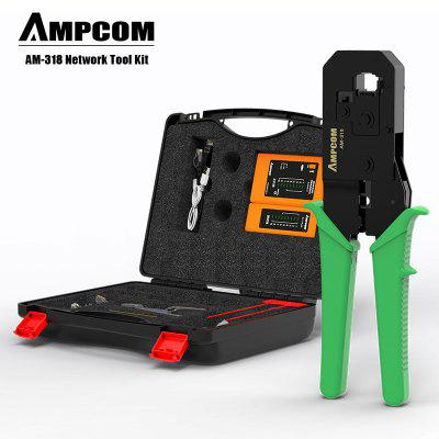 AMPCOM Premium Seris Network Tool Kit Cable Crimping Punch Down Tool Network Tester Cable Striper