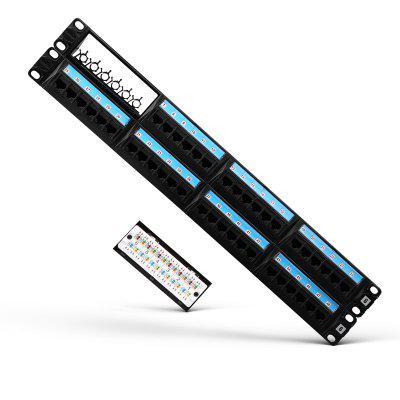 AMPCOM Detachable Series Patch Panel  Rack Mount   2U 19 inch with Rear Cable Management Bar