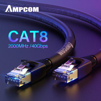AMPCOM STP CAT8 Ethernet Cable High Speed Patch Cable with Gold Plated 40Gbps for 5G PS4 Xbox