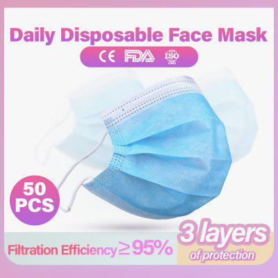 50 Pcs 100 Pcs Non Woven Disposable Face Mask 3 Layer Dental Earloop Activated Carbon Anti-Dust Face