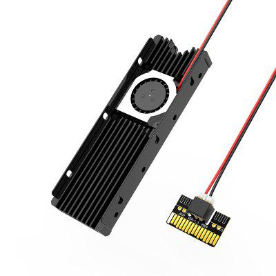 M.2 PCIE NVME or SATA SSD Heatsink with Powerful Cooling Fan and Thermal Pad