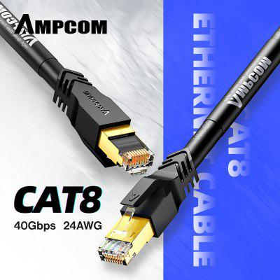AMPCOM STP CAT8 Ethernet Cable 24AWG 8mm High Speed Patch Cable CAT8 Lan Cable 40Gbps