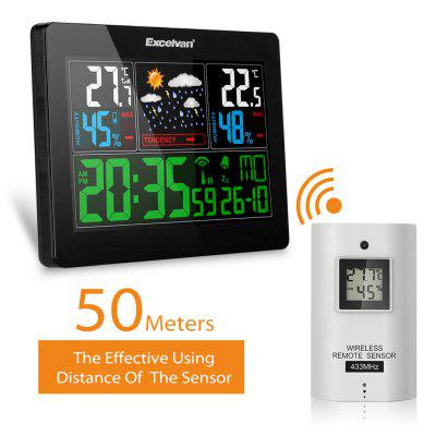 EXCELVAN COLOR Wireless Weather Station With Forecas Temperature Humidity