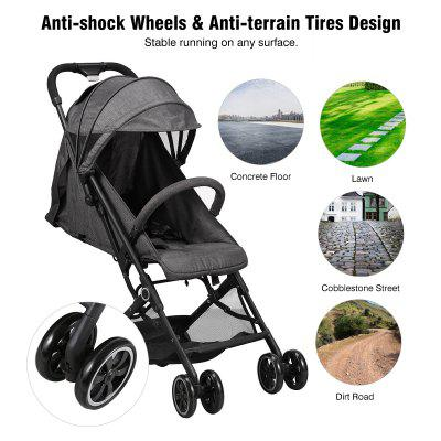 WIPALO Lightweight Compact Stroller with Foldable Design and Adjustable Seat - France