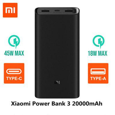 Original Xiaomi 20000mAh Power Bank 3 Portable USB-C 45W Charger for Laptop Smartphones