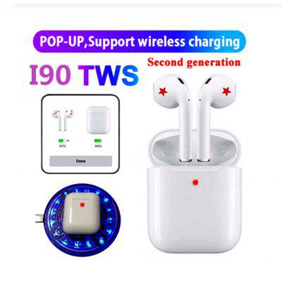I90 TWS touch pop-up window Bluetooth 5.0 blue sports headset with wireless charging function