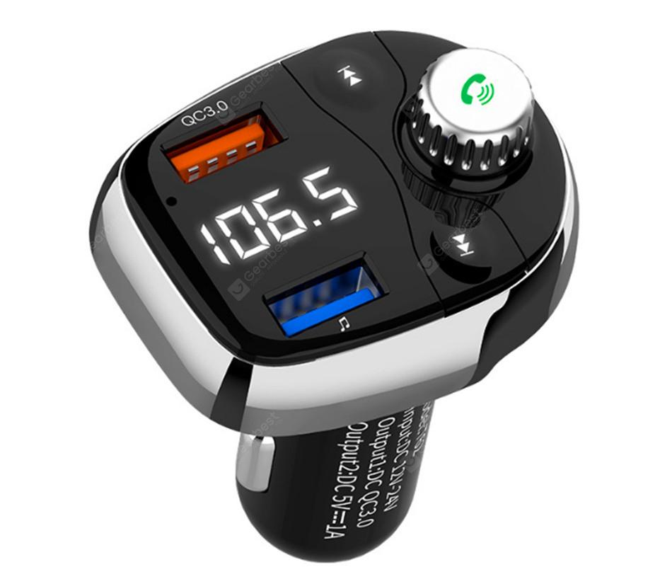 T62 Bluetooth FM Transmitter Modifier Wireless Hands-free Car Kit MP3  Player QC3 0 USB Charger