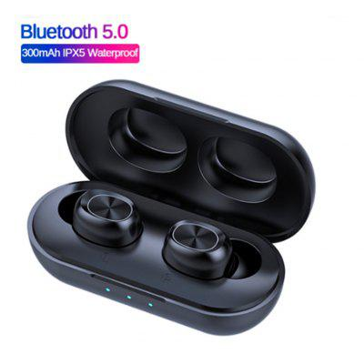 Wireless Bluetooth 5.0 waterproof touch control headset 9D stereo music headset 300mAh mobile power