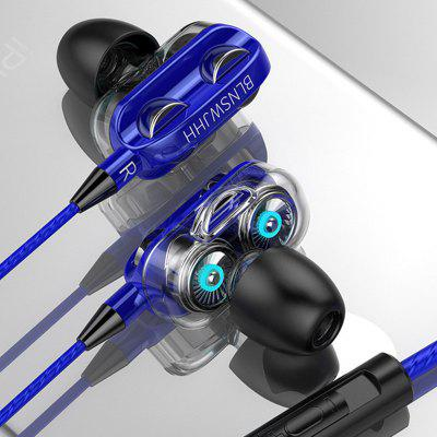 A4 3.5MM Wired In-Ear Headphones Dual-Driver High-Fidelity Stereo Headphones With Microphone