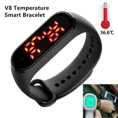 V8 Men And Women New Body Temperature intelligent Fitness Exercise Tracker Blood Pressure Smart Watch
