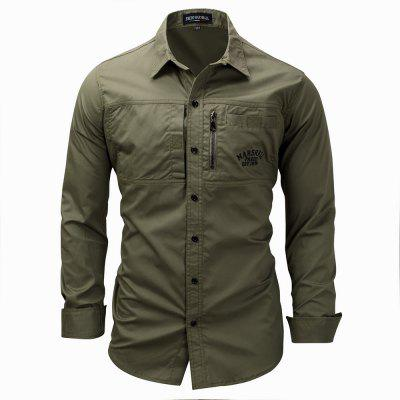 Marshall Fredd Long Sleeve Khaki Army Green Shirt Cargo Shirt Casual Shirt