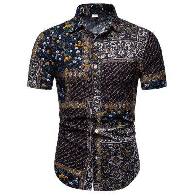 Men Casual Shirts Slim Fit Floral Shirts National Style Tops Floral Summer Short Sleeve Shirts