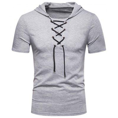 Men Lace Up Hooded Short Sleeve Summer Casual Slim Comfort T-Shirt