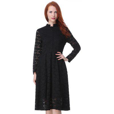 Kenancy Stand Collar Long Sleeve Black Lace Dress Work Casual Day dress