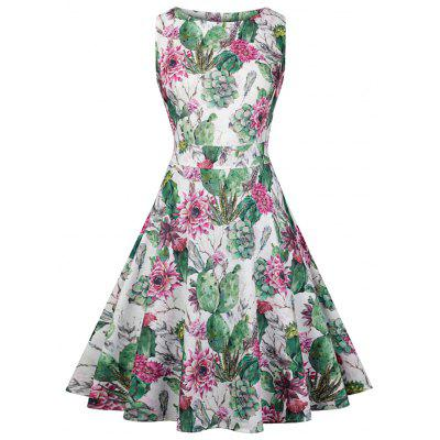 Women Floral Swing Dress Vintage Round Neck Sleeveless Party Prom Dress Plus Size