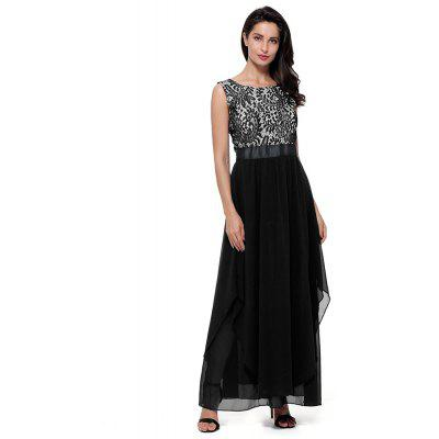 Woman Elegant Chiffon Lace Sleeveless Round Neck Evening Party Cocktail Wedding Formal Dress