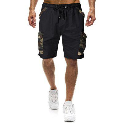 Mens Knee Length Shorts Cargo Combat Elastic Waist Pockets Summer Casual Pants Camo Shorts